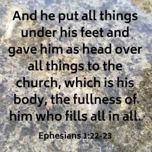 And he put all things under his feet and gave him as head over all things to the church, which is his body, the fullness of him who fills all in all.